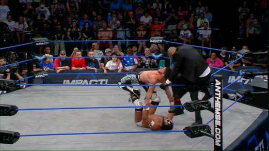 GFW-Global-Force-Wrestling-Impact-Matt-Sydal-Low-Ki-El-Hijo-del-Fantasma-X-Division-Double-Stomp-setup